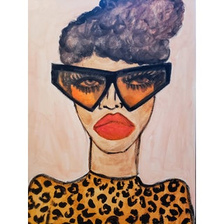 Leopard Top Drawing by Kendra Dandy For Sale