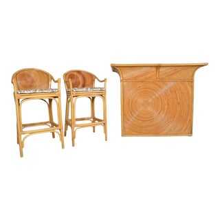Hollywood Regency Pencil Reed Dry Bar With Stools For Sale