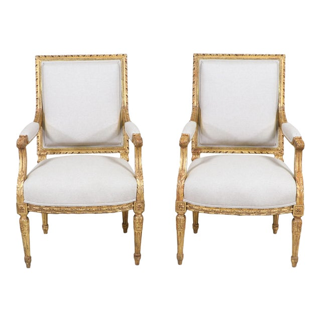 French Antique Louis XVI Giltwood Arm Chairs-A Pair For Sale