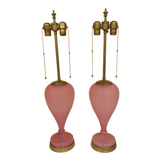 19th Century French Opaline Lamps - a Pair For Sale