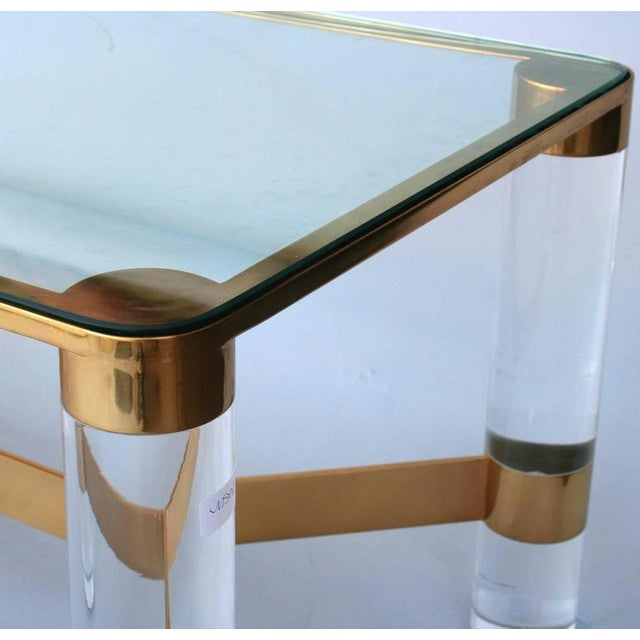 Karl Springer Karl Springer Lucite and Brass Occasional Table For Sale - Image 4 of 7
