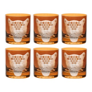 African Safari Double Old Fashioned Glasses, Jaguar, Rust Set of 6 For Sale