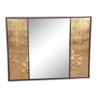 LaBarge Églomisé Reverse Painted Hollywood Regency Chinoiserie Wall Mirror For Sale