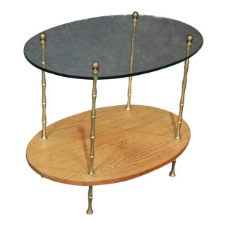2 Tier Faux Bamboo Glass Top Table Attr Bagues For Sale