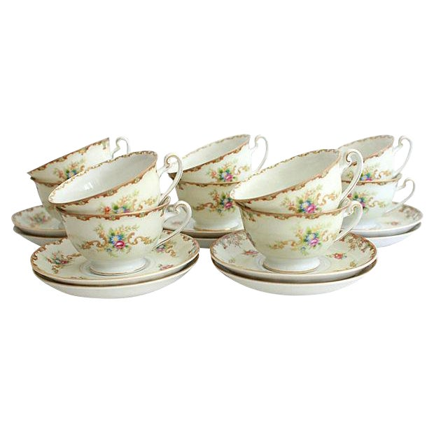 Traditional Hira China 1940s Teacups & Saucers -Set of 20