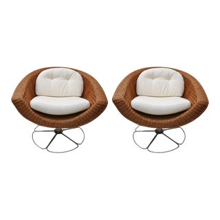 Woven Wicker & Polished Chrome Bohemian Swivel Chairs - A Pair