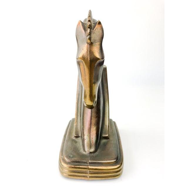 Bronze 1930s Vintage Art Deco Dodge Bronze Trojan Horse Bookends - a Pair For Sale - Image 8 of 10