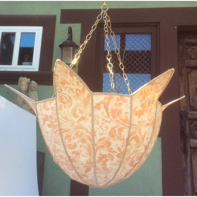 French Provincial Large Fortuny Fabric Hanging Light Shade For Sale - Image 3 of 5