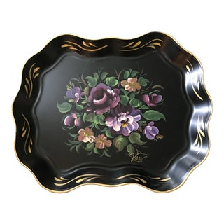 Vintage Handpainted Tole Tray Signed