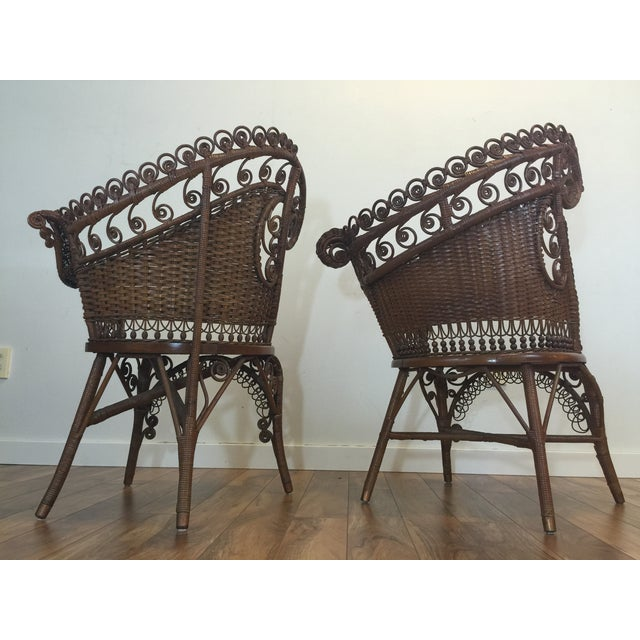 Antique Wicker Photographer's Chairs - A Pair For Sale - Image 5 of 11