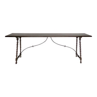 Custom Walnut Wood and Iron Console With Bobbin/Spool Turned Legs For Sale