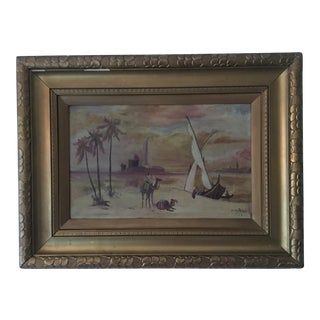 Late 19th Century Antique Egypt Nile River Orientalist Oil Painting For Sale