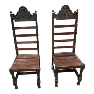 1970s Vintage Gothic Ornate Wood Chairs For Sale