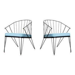 Vintage Mid Century Wrought Iron and Brass Patio Chairs - a Pair For Sale