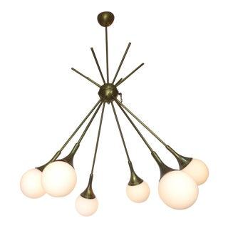Mid-Century Modern Brass & Glass Sputnik Chandelier