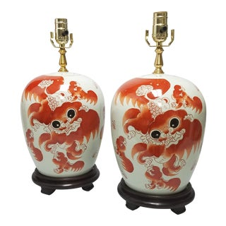 Rust & White Foo Dog Lamps - a Pair For Sale