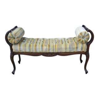 French Louis XV Style Carved Rolled Arm Settee