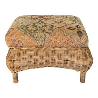 Vintage Wicker Footstool or Ottoman For Sale