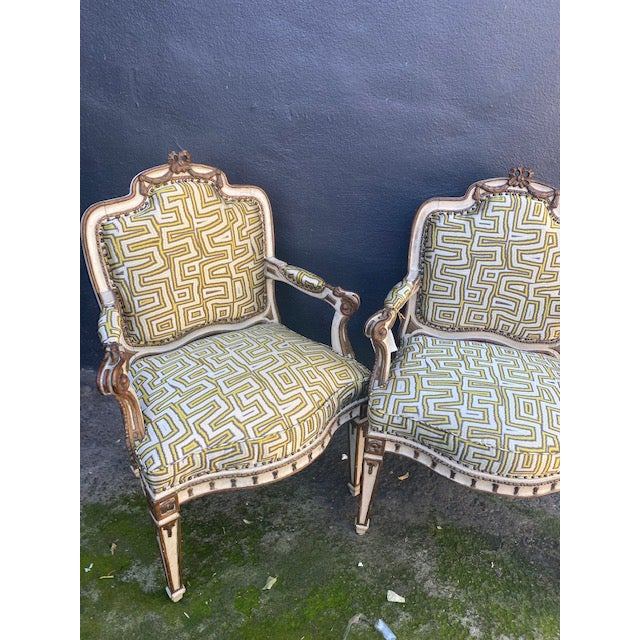 Early 19th C. Italian Painted Carved Arm Chairs- A Pair For Sale - Image 9 of 12