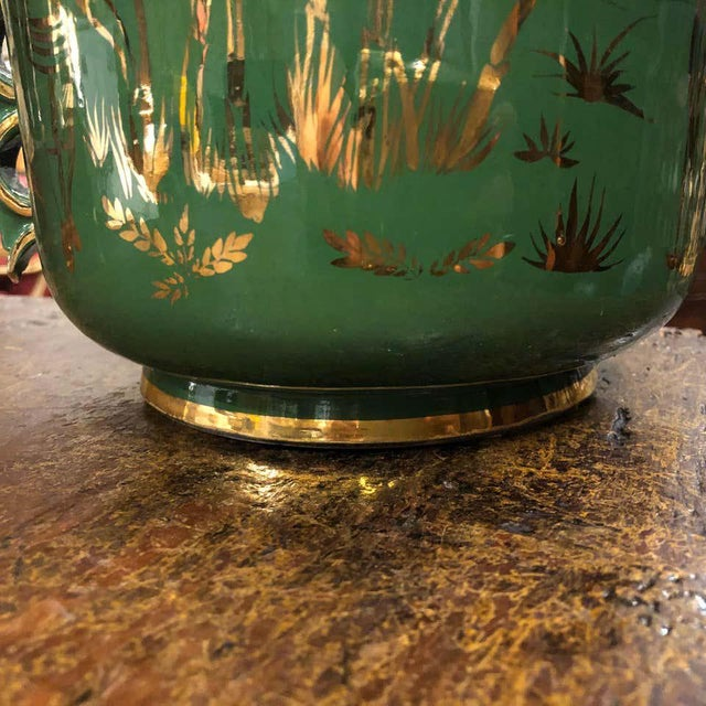 Green 1960s Italian Mid-Century Modern Green and Gold Ceramic Vase For Sale - Image 8 of 13