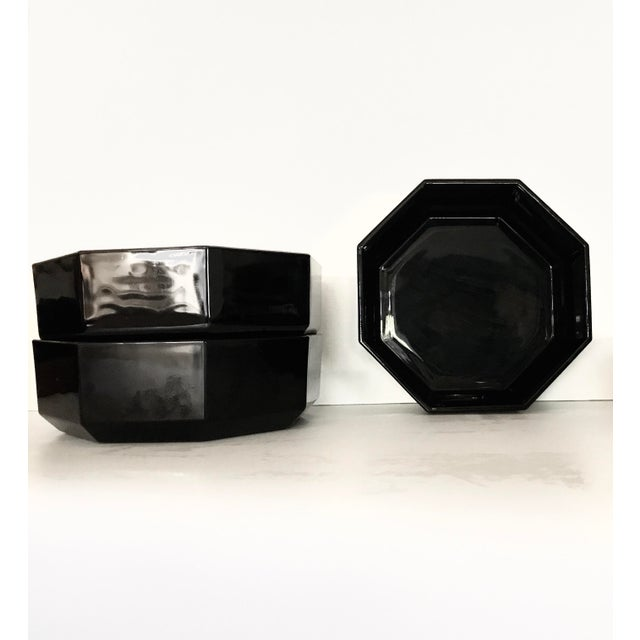 1980s Arcoroc Octime Black Octagon Dinnerware - Set of 16 For Sale - Image 4 of 9
