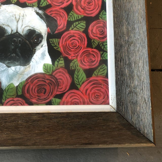 Contemporary Contemporary Pug in Red Roses Dog Print by Judy Henn For Sale - Image 3 of 5