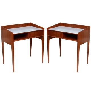 Rare Pair of Mahogany and Formica Side Tables in Style of Gio Ponti, Italy 1950s For Sale