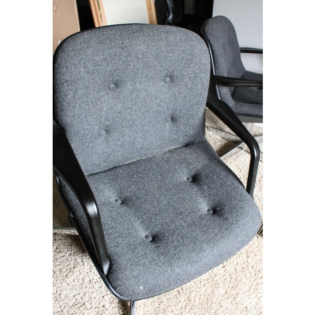 Metal 1980s Vintage United Chair Tufted Grey Tweed Pollock Style Chairs- A Pair For Sale - Image 7 of 10