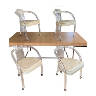 Mid Century 1970s Hill Manufacturing Rolling Lucite Chairs- Set of 4 For Sale