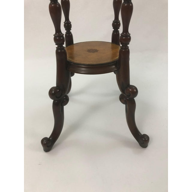 Traditional Maitland Smith Mahogany and Leather Top Stand For Sale - Image 3 of 9