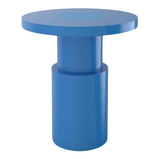 Contemporary 105C Blue End Table by Orphan Work For Sale
