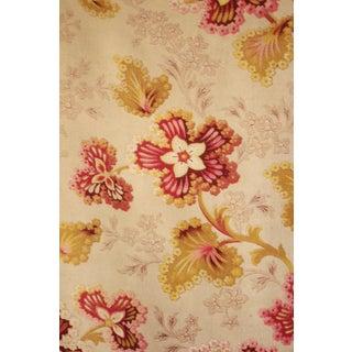 French Fabric Art Nouveau Printed Cotton Cretonne Weave Antique Floral Cloth Vintage Textile 1900 For Sale