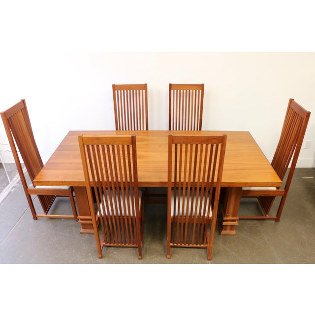 Cherry Table And Chairs: Frank Lloyd Wright Style Cherry Wood Dining Room Table And