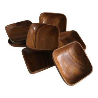 Monkey Pod Wood Bowls - Set of 7 For Sale
