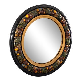 Large Round French Barbola Wall Mirror For Sale