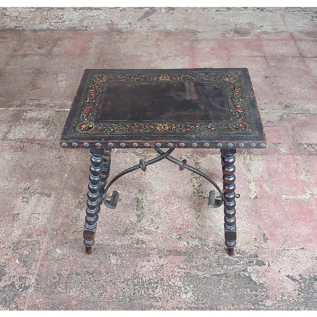"""18th century Spanish Revival Leather Top Trestle Occasional Table size 22 x 15 x 21"""" A beautiful piece that will add to..."""
