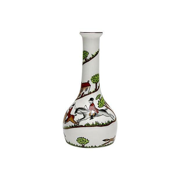Cottage English Hunting Scene Bud Vase For Sale - Image 3 of 5