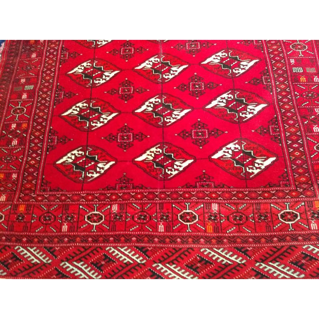 """Silk 1960s Turkman Tribal Red and Cream Wool Carpet 4' X 5' 5"""" For Sale - Image 7 of 8"""