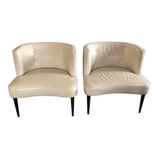 Contemporary Room and Board Chloe White Leather Chairs - a Pair For Sale