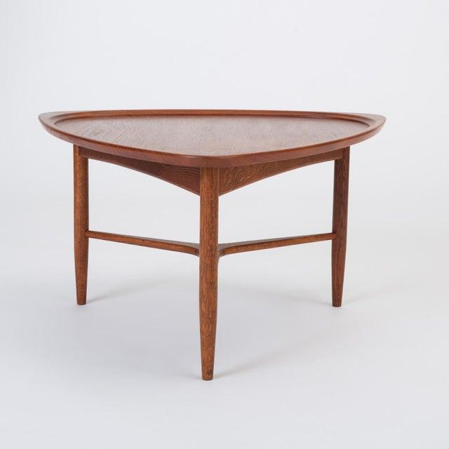 "Brown Scandinavian Modern Teak ""Guitar Pick"" Side Table For Sale - Image 8 of 13"