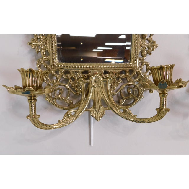 Pair Virginia Metal Crafters Brass Twin Candle Mirrored Sconces, Colonial Williamsburg For Sale - Image 10 of 12
