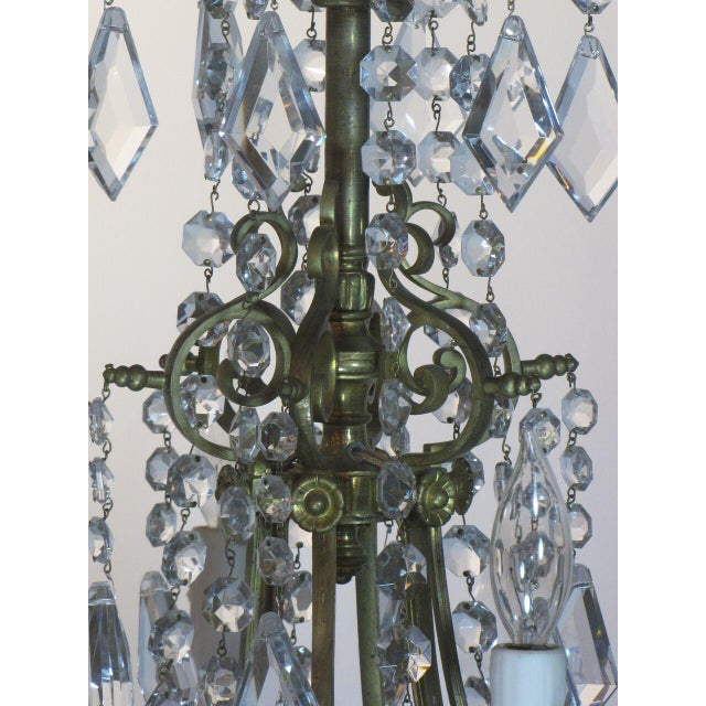 Bronze French Bronze and Crystal Chandelier For Sale - Image 7 of 9