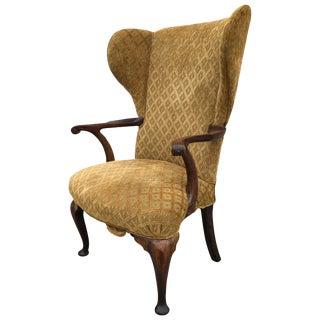 Wing Chair Queen Ann Philadelphia Open Serpentine Open Arm Pad Feet, Circa 1740 For Sale