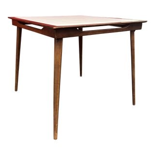 Stakmore Mid-Century Walnut With White Vinyl Top Folding Table