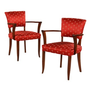 Pair of French Art Deco Red Bridge Armchairs Circa 1930s