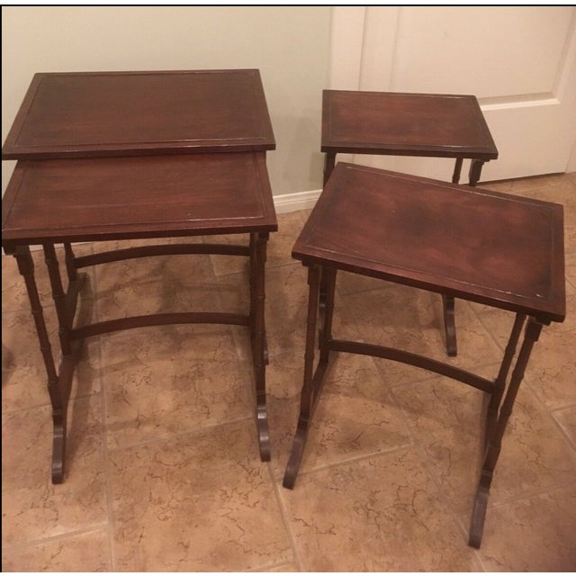 Georgian 1920s George III Style Mahogany Nesting Tables - Set of 4 For Sale - Image 3 of 4
