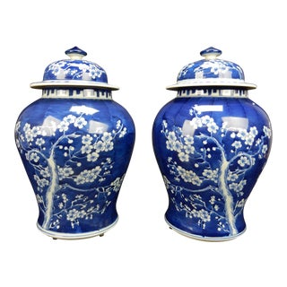 Gorgeous Pair of Large Antique Chinese Blue and White Ginger Jars For Sale