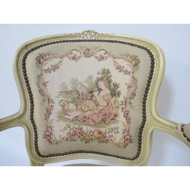 White 1950's Louis XV Chair For Sale - Image 8 of 9