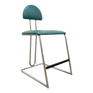 Vintage Loewenstein Modern Memphis Style Blue Chrome Counter Bar Stool Chair For Sale