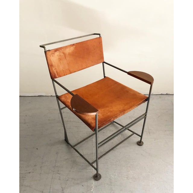 Kevin Walz Post Modern Leather & Iron Lounge Chairs- A Pair For Sale In New York - Image 6 of 8